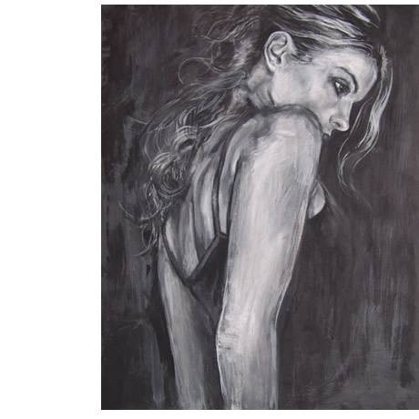 painture carmen portraits acrylics on canvas monochrome